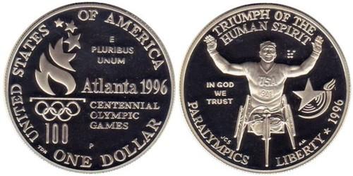 1 доллар 1996 P США — XXVI летние Паралимпийские игры, Атланта 1996 — Гонки на колясках — серебро