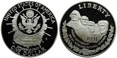 1 доллар 1991 S США — 50 лет Национальному мемориалу Рашмор — серебро