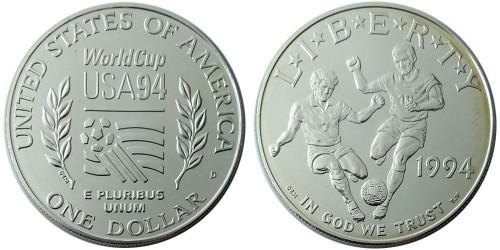 1 доллар 1994 D США — Чемпионат мира по футболу 1994 — серебро