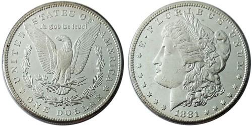 1 доллар 1881 S США — Доллар Моргана — серебро