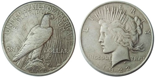 1 доллар 1922 США — Peace Dollar — серебро №3