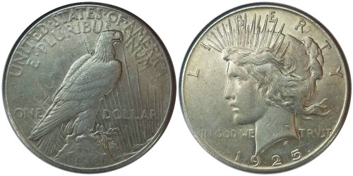 1 доллар 1925 США — Peace Dollar — серебро №2