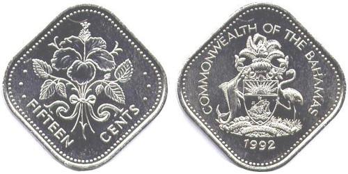 15 центов 1992 Багамские Острова UNC