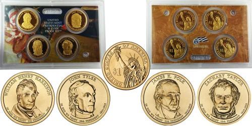 Набор монет 1 доллар 2009 S — Президенты США №9 №10 №11 №12 Proof