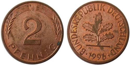 2 пфеннига 1996 «J» ФРГ