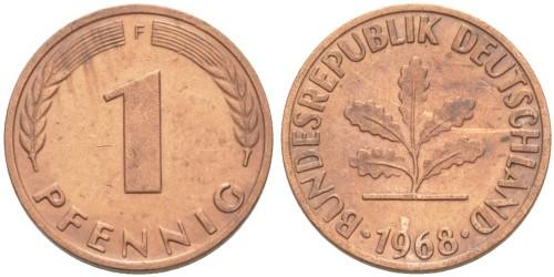 1 пфенниг 1968 «F» ФРГ