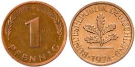 1 пфенниг 1974 «G» ФРГ