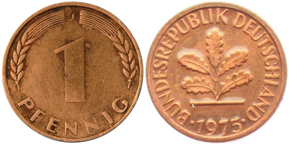 1 пфенниг 1975 «J» ФРГ