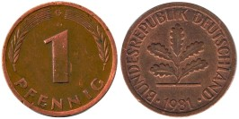 1 пфенниг 1981 «G» ФРГ