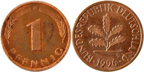 1 пфенниг 1996 «D» Германия