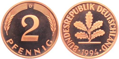 2 пфеннига 1994 «D» ФРГ