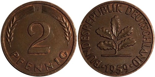 2 пфеннига 1959 «J» ФРГ