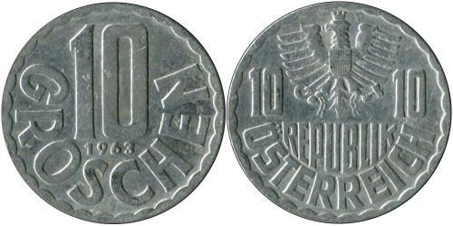 10 грошей 1963 Австрия