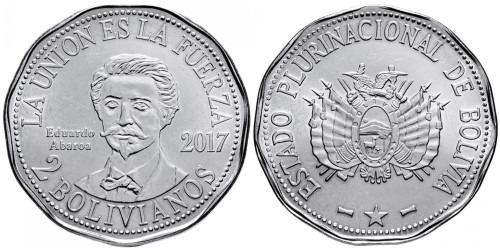 2 боливиано 2017 Боливия — Эдуардо Абароа
