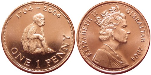 1 пенни 2004 Гибралтар — 300 лет захвату Гибралтара
