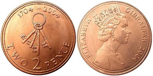 2 пенса 2004 Гибралтар — 300 лет захвату Гибралтара