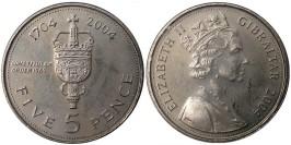 5 пенсов 2004 Гибралтар — 300 лет захвату Гибралтара