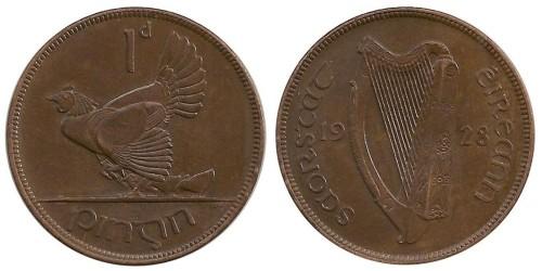 1 пенни 1928 Ирландия