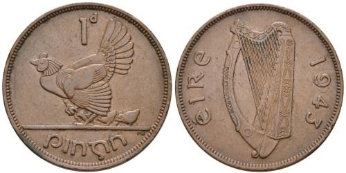 1 пенни 1943 Ирландия