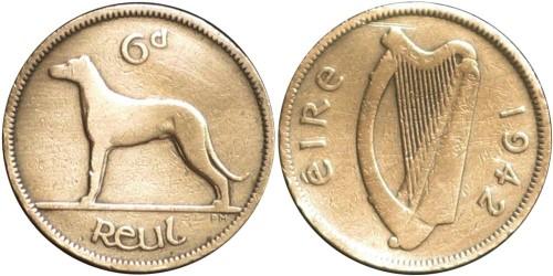 6 пенсов 1942 Ирландия