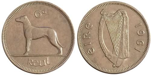 6 пенсов 1961 Ирландия