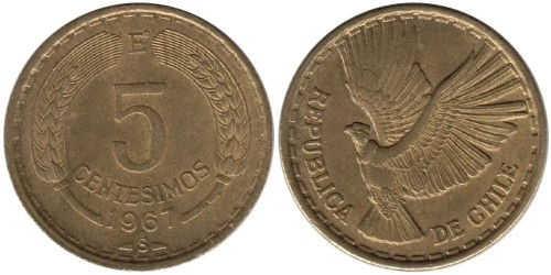 5 сентесимо 1967 Чили