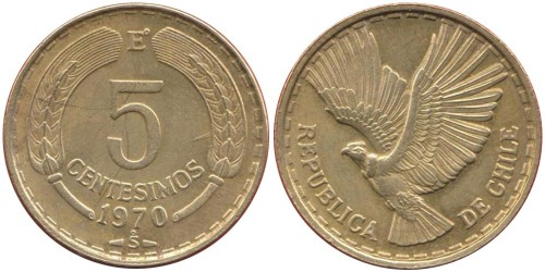 5 сентесимо 1970 Чили