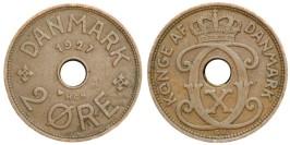 2 эре 1927 Дания — Отметка минцмейстера — HCN — Hans Christian Nielsen