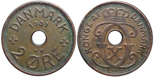 2 эре 1931 Дания — Отметка минцмейстера — N — Niels Peter Nielsen