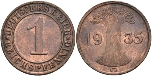 1 рейхспфенниг 1935 «G» Германия