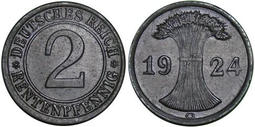 2 рентенпфеннига 1924 «G» Германия
