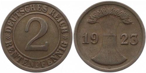 2 рентенпфеннига 1923 «D» Германия