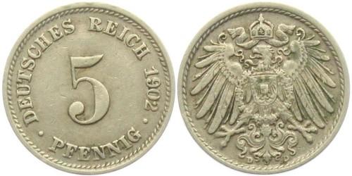 5 пфеннигов 1902 «D» Германская империя