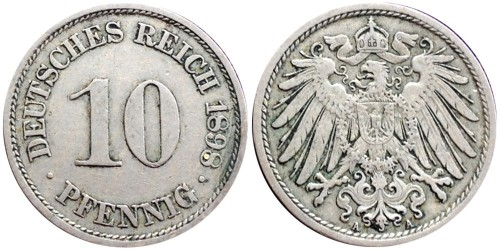 10 пфеннигов 1898 «A» — Германская империя