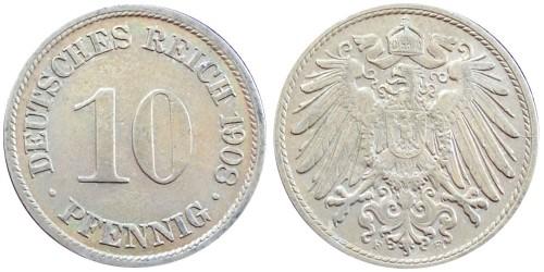 10 пфеннигов 1908 «F» — Германская империя