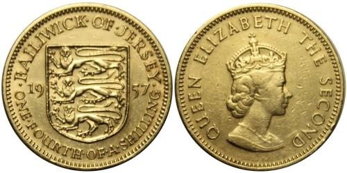 1/4 шиллинга 1957 остров Джерси