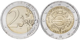 2 евро 2012 «G» Германия — 10 лет евро наличными