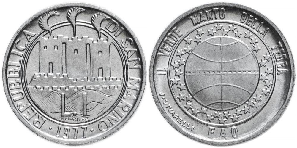 1 лира 1977 Сан-Марино — Экология UNC