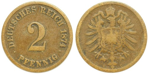 2 пфеннига 1874 «C» Германская империя