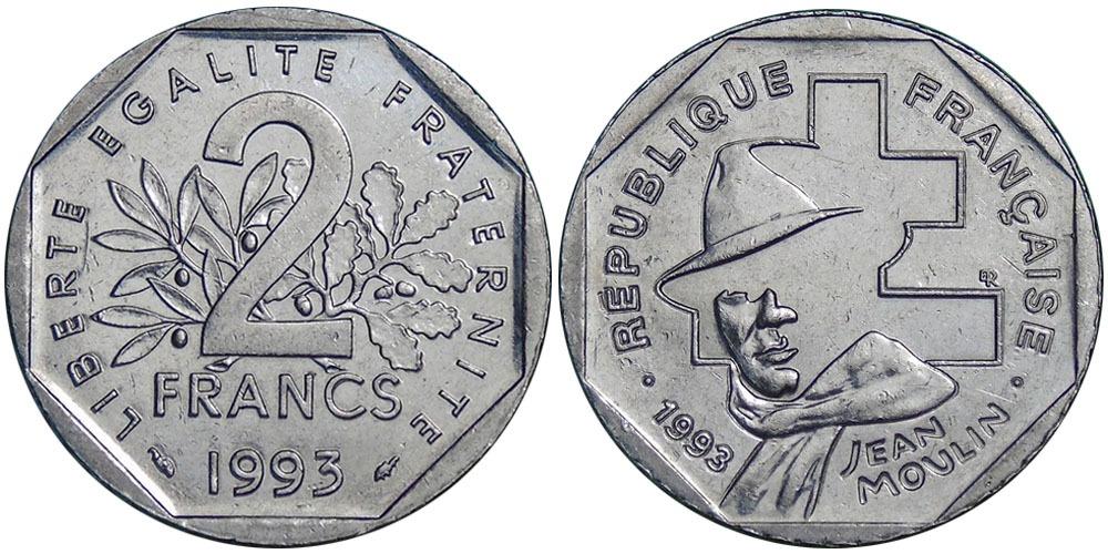 2 франка 1993 Франция — 50 лет Национальному движению сопротивления
