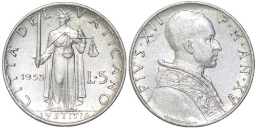 5 лир 1953 Ватикан