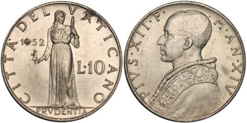 10 лир 1952 Ватикан