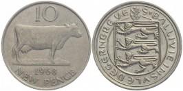 10 новых пенсов 1968 остров Гернси