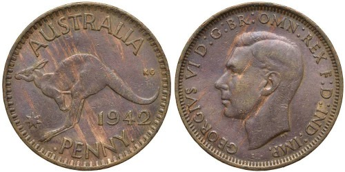 1 пенни 1942 Австралия — Точка перед и после «PENNY»