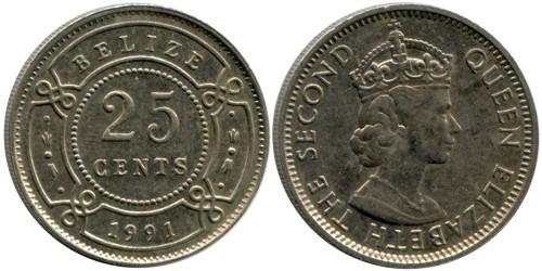 25 центов 1991 Белиз