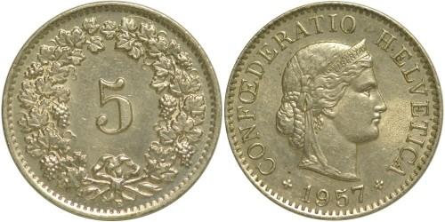 5 раппен 1957 Швейцария