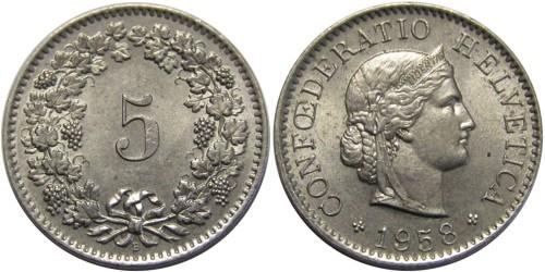 5 раппен 1958 Швейцария