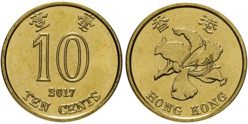 10 центов 2017 Гонконг UNC