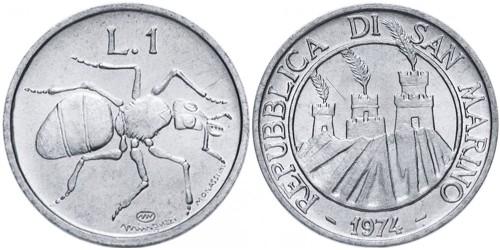 1 лира 1974 Сан-Марино UNC