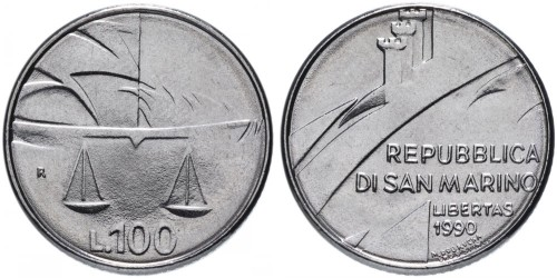 100 лир 1990 Сан-Марино — Шестнадцать веков истории UNC